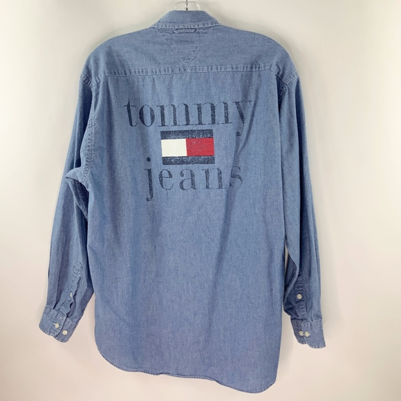 fb242c24e Tommy Hilfiger Shirts | Jeans Spell Out Denim Shirt | Poshmark